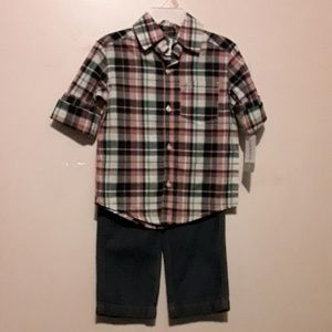 Carter's boys blue jeans and plaid shirt